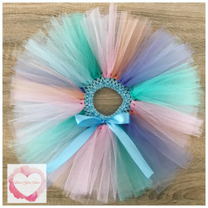 Pink, dark mint, peach, tiffany & lavender short Tutu skirt