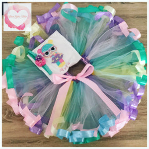 Embroidered Ribbon trimmed lol doll set tutu set