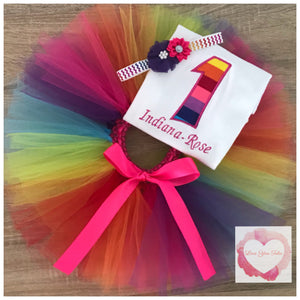 Embroidered Rainbow numbered tutu set