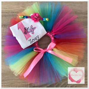 Embroidered Rainbow butterfly tutu set
