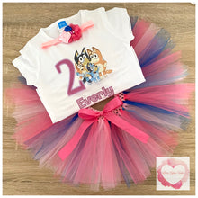 Load image into Gallery viewer, Bluey printed personalised tutu set