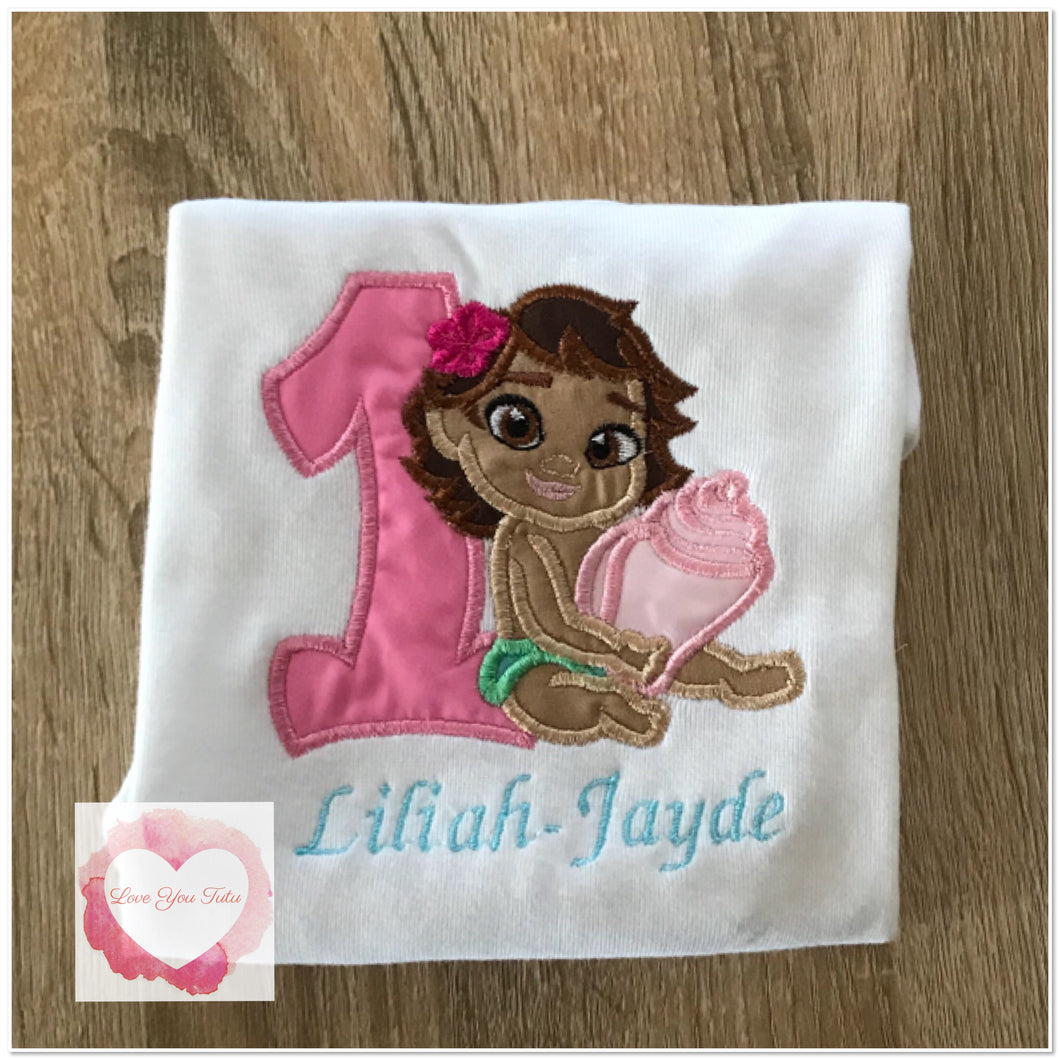 Embroidered Baby Moana design