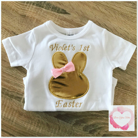 Embroidered gold Easter design