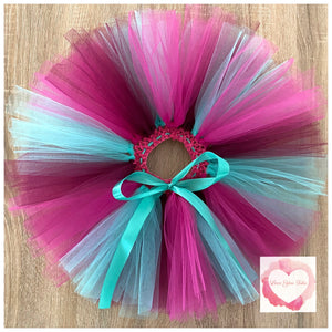 Dark mint, plum & fuchsia short tutu skirt