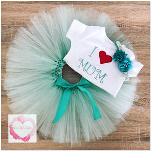 Embroidered I love mum tutu set