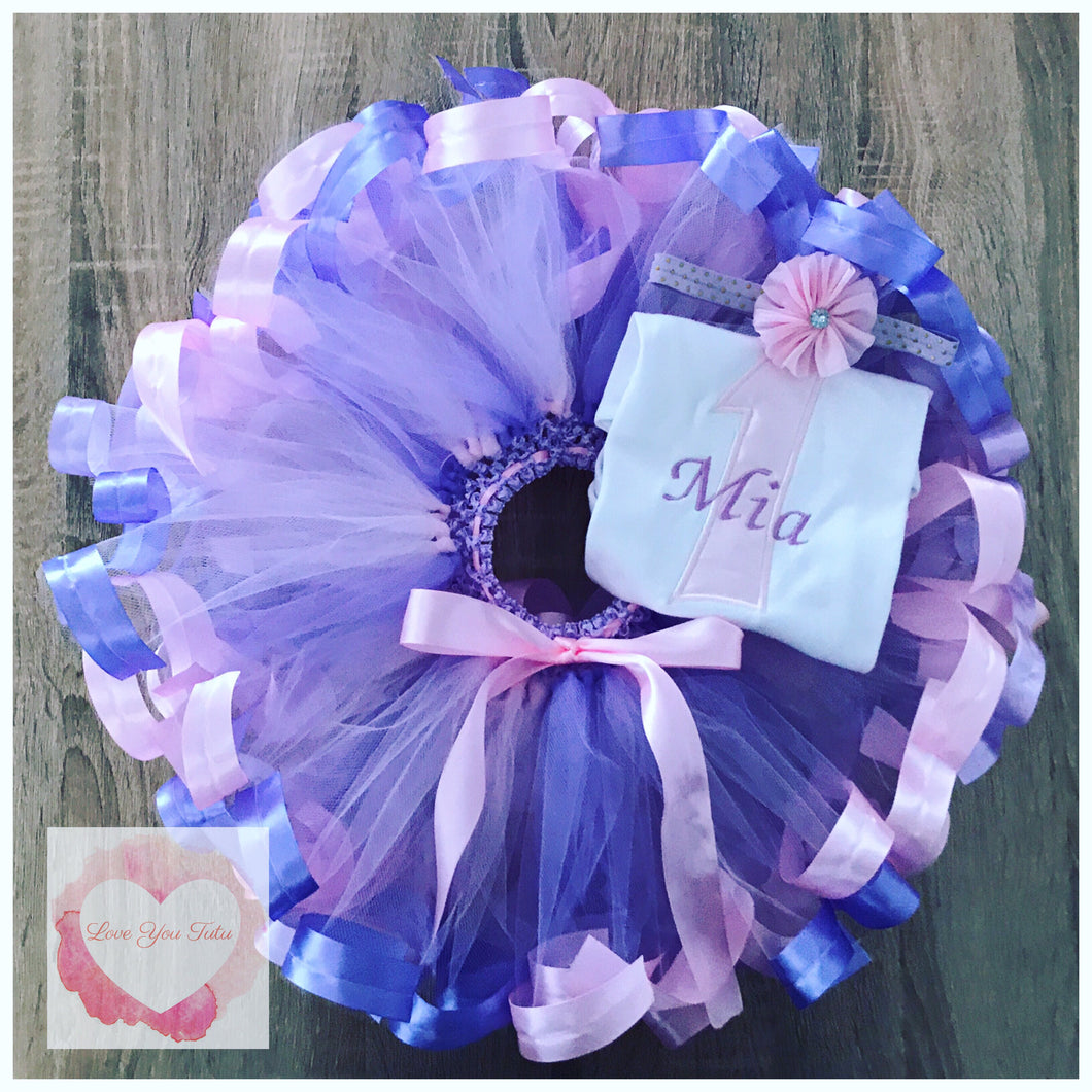 Embroidered Ribbon trimmed birthday tutu set