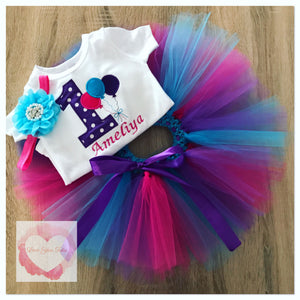 Embroidered 1st birthday balloon tutu set