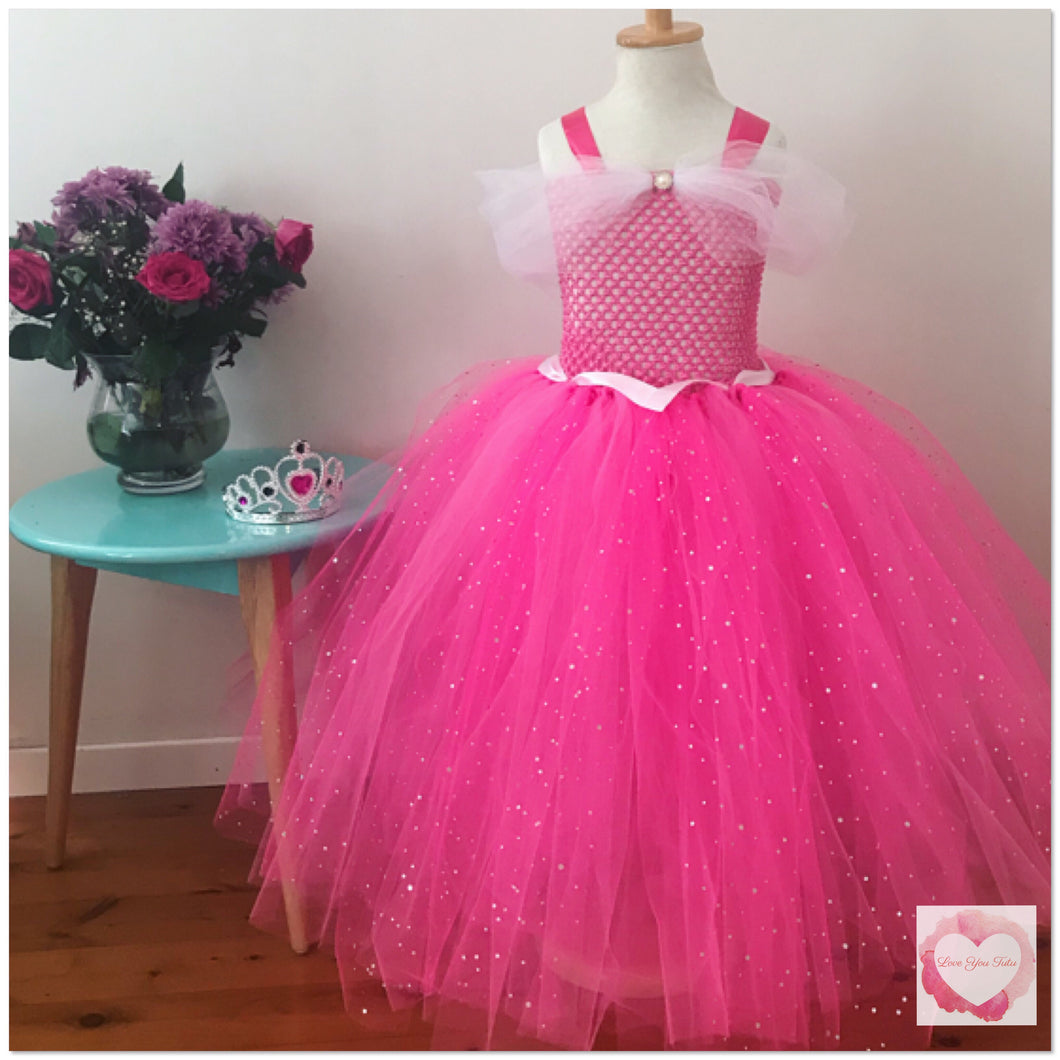 Princess Aurora shocking pink full length tutu dress