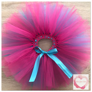 Turquoise and Fuchsia layered short Tutu skirt