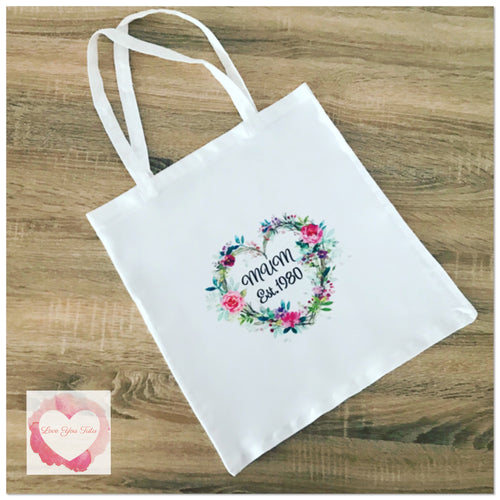 Mum est. personalised tote bag