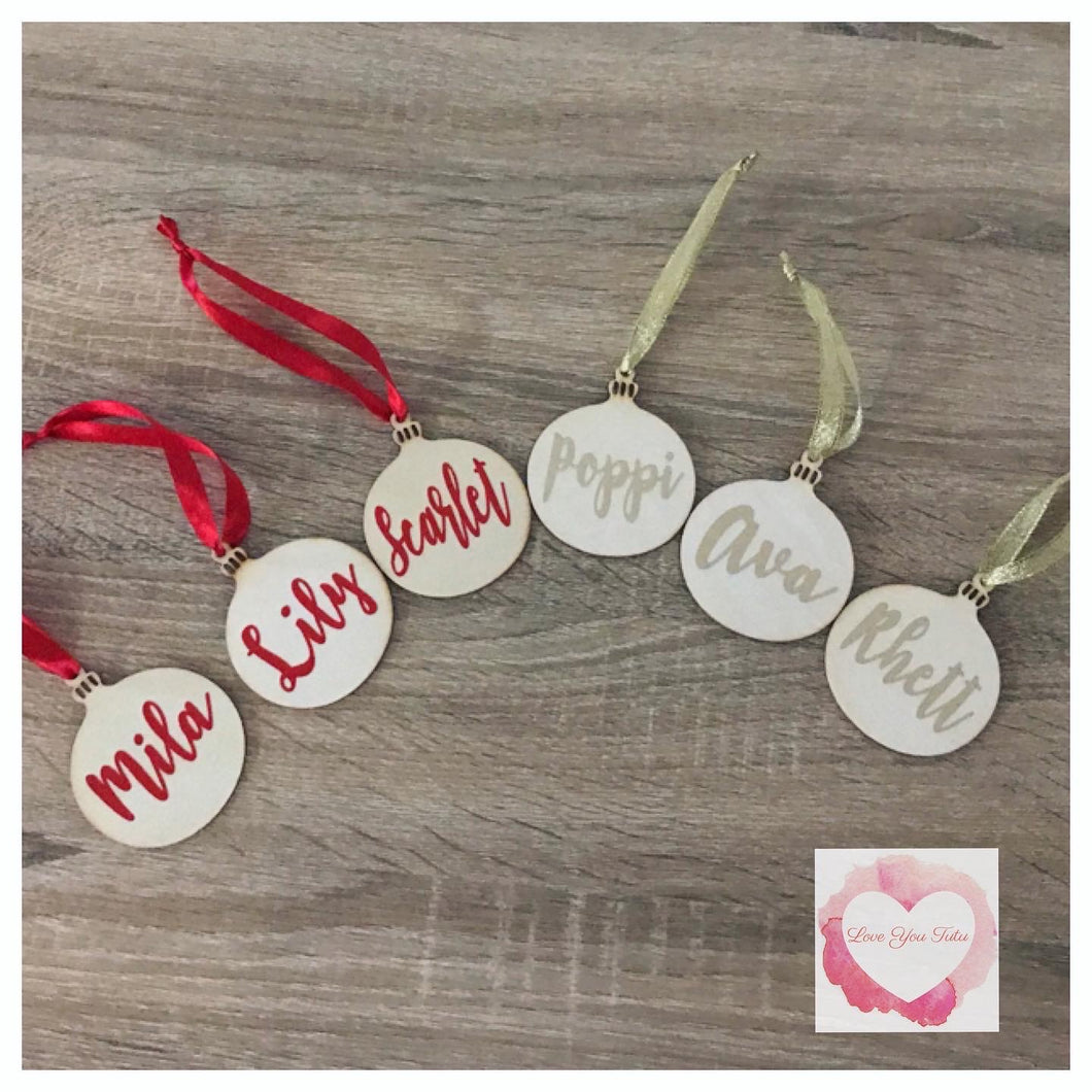 Personalised timber Christmas ball tree decoration