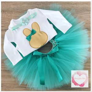 Embroidered mint & gold Easter tutu set