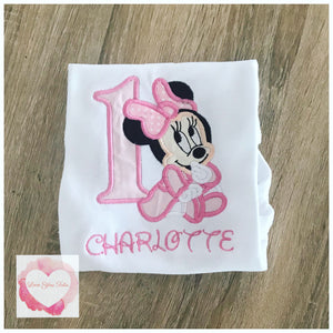 Embroidered Minnie Mouse (baby pink) design