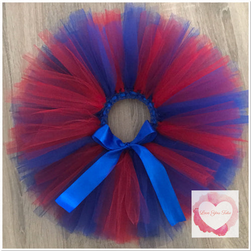 Red & royal blue short Tutu skirt