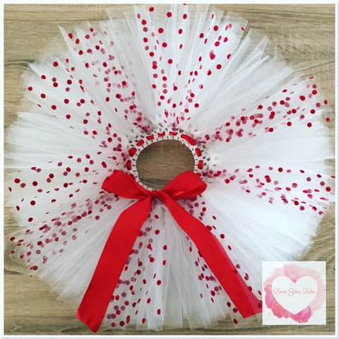 White with red felt dots short Tutu skirt