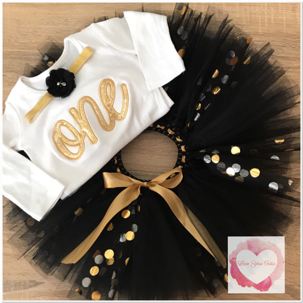 Embroidered Black & gold one tutu set