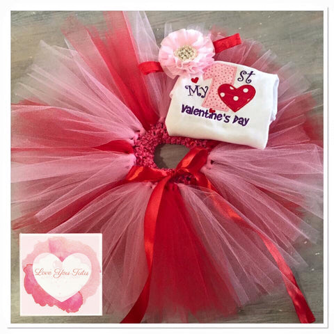 Embroidered My 1st Valentines day tutu set