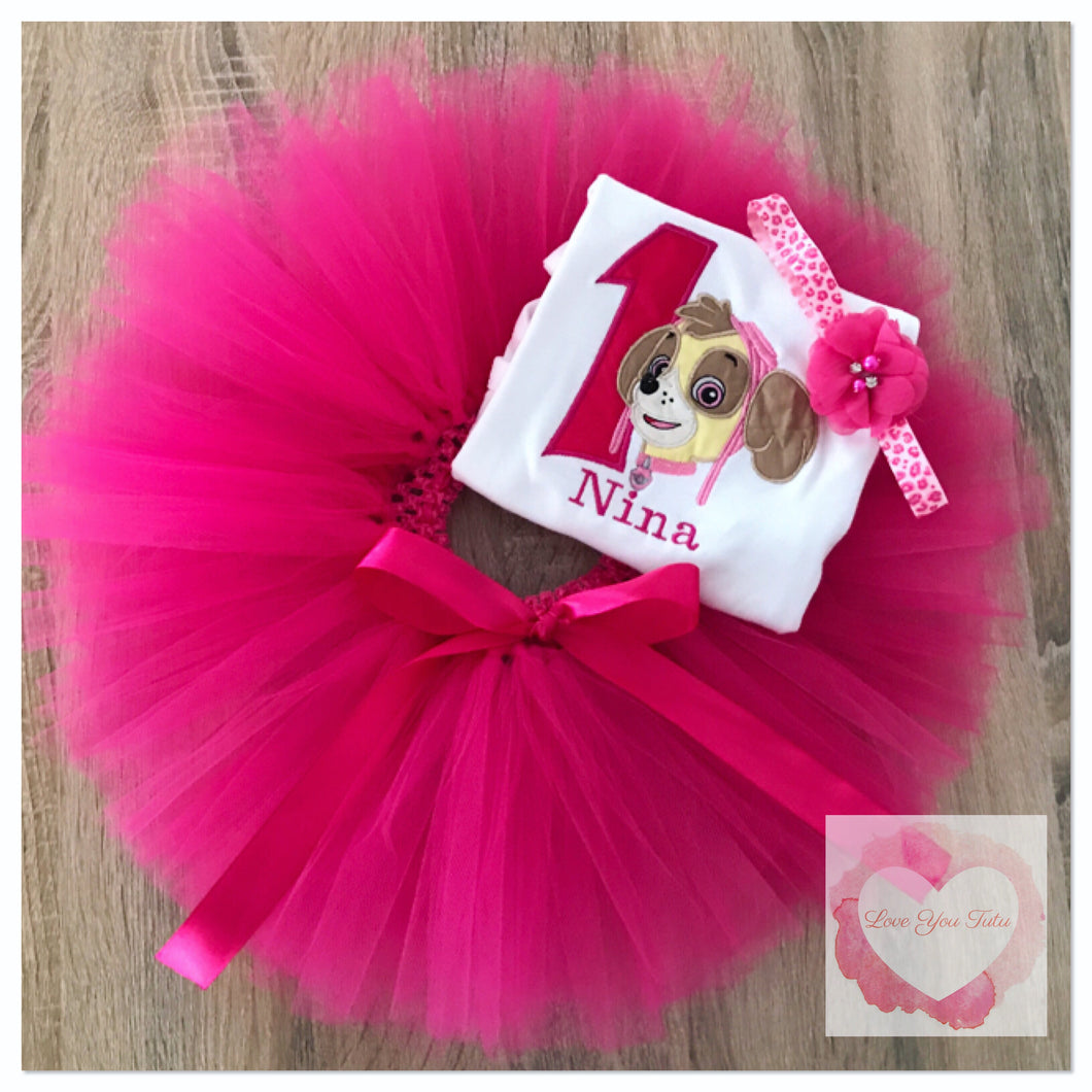 Embroidered Skye paw patrol tutu set