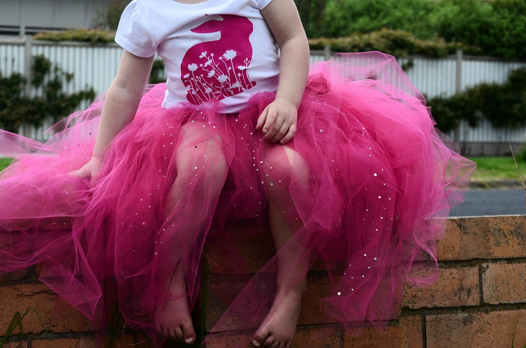 Fuchsia & sequin full length girls tutu skirt