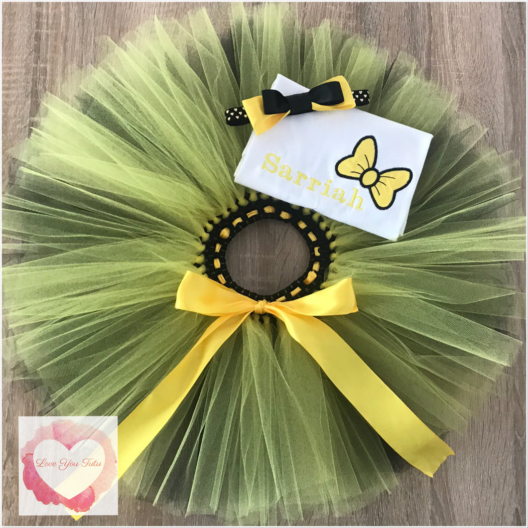 Embroidered yellow bow tutu set