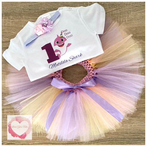 Baby shark pastels personalised tutu set
