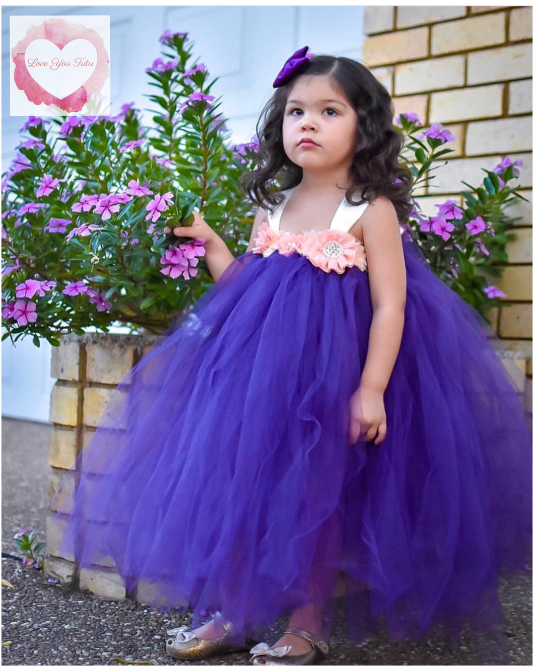 Purple & peach Full length tutu dress