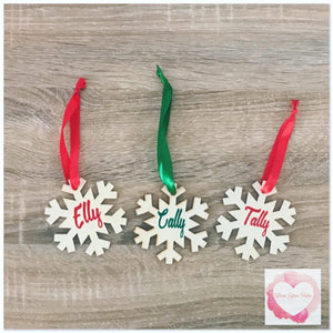 Personalised Snowflake timber tree decoration