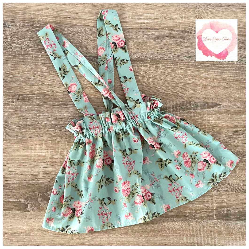 Green floral paperbag suspender skirt- size 3-4  -ready to ship