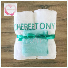 Load image into Gallery viewer, Embroidered personalised double towel set