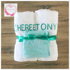 Embroidered personalised double towel set