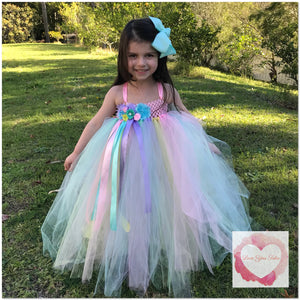 Pastel full length girls Tutu dress 1/4 bodice
