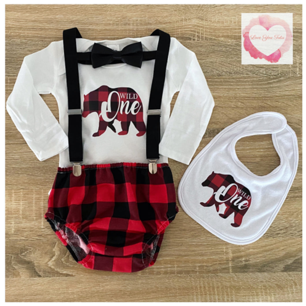 Plaid wild one 1st Birthday set size 1- ready to ship