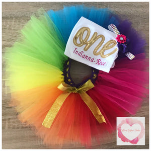 Embroidered one rainbow tutu set