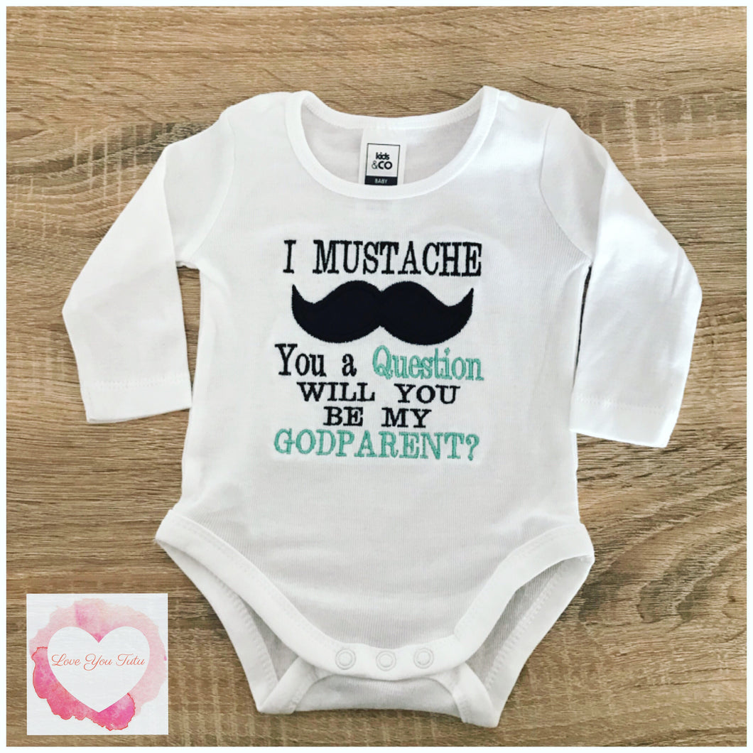 Embroidered moustache Godparent design
