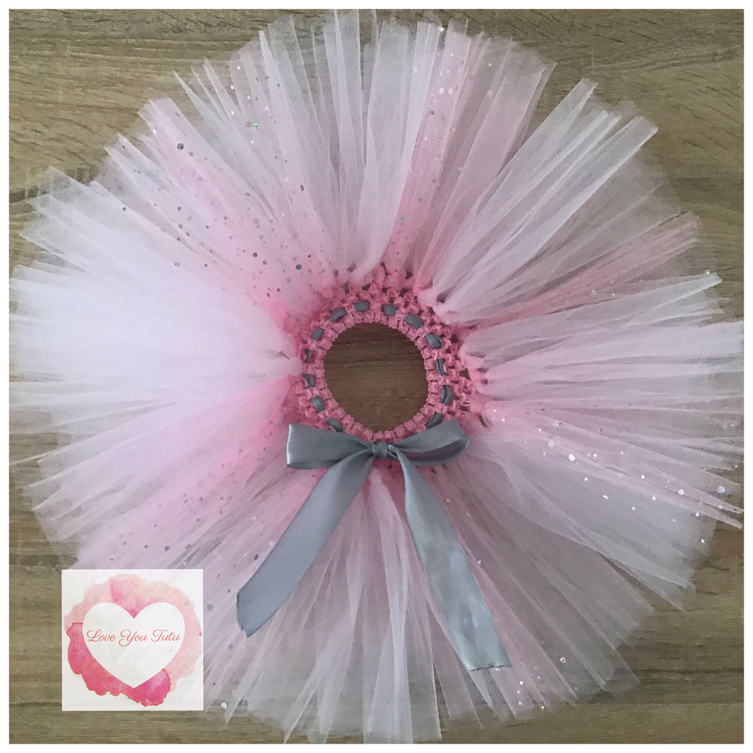 Baby pink & sequin tulle short Tutu skirt