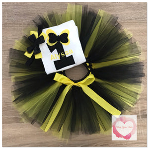Embroidered black and yellow numbered bow tutu set