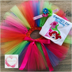 Embroidered Ariel bright colours tutu set