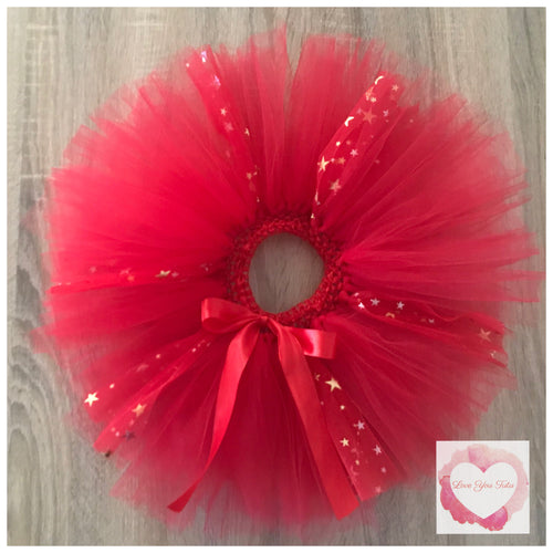 Red & gold metallic stars short Tutu skirt