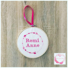 Load image into Gallery viewer, Arrow personalised embroidered hanging hoop