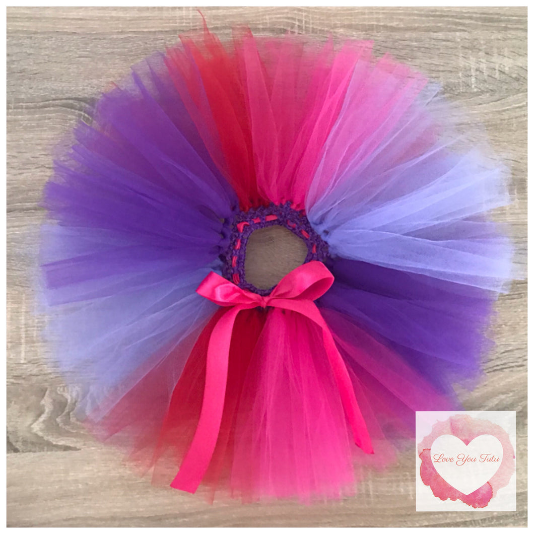 Purple, lavender, red & fuchsia short Tutu skirt