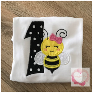 Embroidered bumble bee design