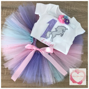 Embroidered unicorn silhouette tutu set