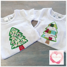 Load image into Gallery viewer, Embroidered Christmas tree appliqué design