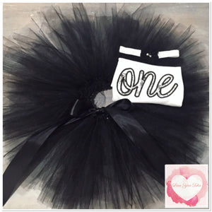 Embroidered one black & white tutu set