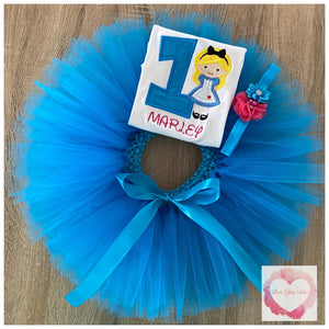 Alice in wonderland turquoise tutu set