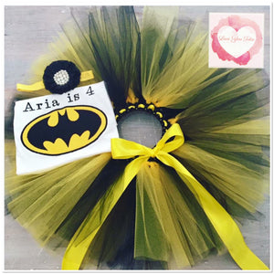 Embroidered Batman tutu set