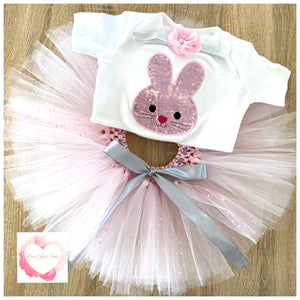 Embroidered pink bunny tutu set