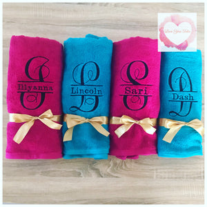 Embroidered split monogrammed towel