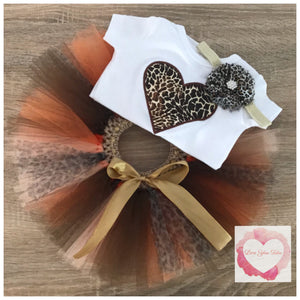 Embroidered Leopard Heart tutu set