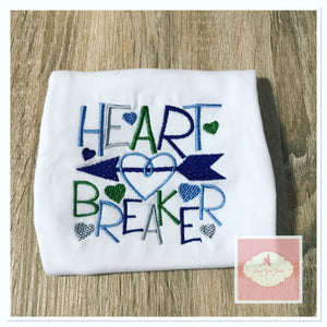 Embroidered heart breaker design